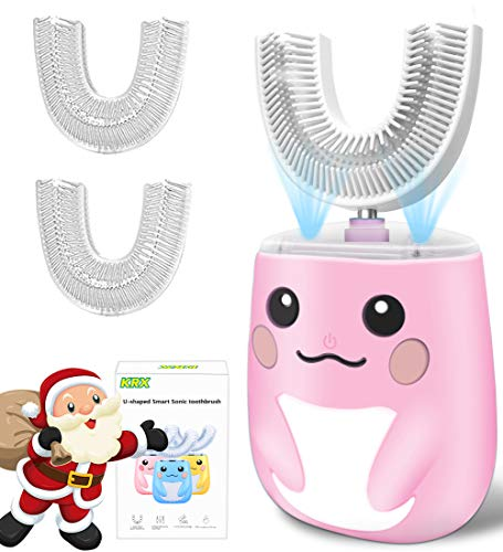 Kids Sonic Electric Toothbrush, U-Shaped Toothbrush with 6 Gear Speed Cleaning Modes Whitening & Gum Massage for Sensitive Teeth 360° Oral Cleaning Automatic Toothbrush for Toddlers (2-6,Pink)