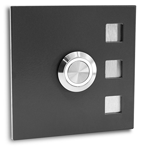 Jung-Edelstahl-Design Türklingel ohne Gravur Köln Klingelplatte 7 x 7 cm. Led Taster anthrazit RAL7016 pulverbeschichtet Klingelschild V2a Edelstahl (LED weiß)