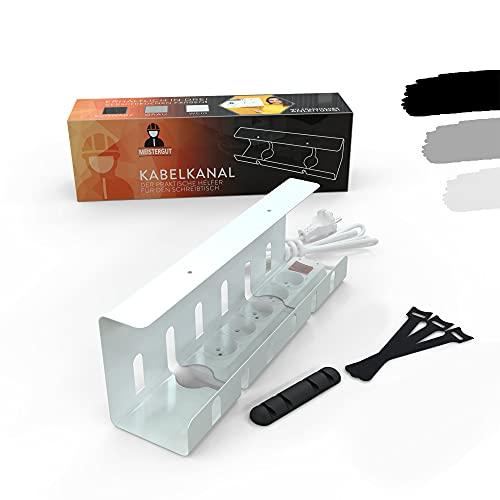 MEISTERGUT® Premium kabelkanal skrivbord för snygg kabelhantering [Made IN Germany] – kabelhållare under bord för hemmakontor och kontor inkl. tillbehör med buntband – kabeldragning