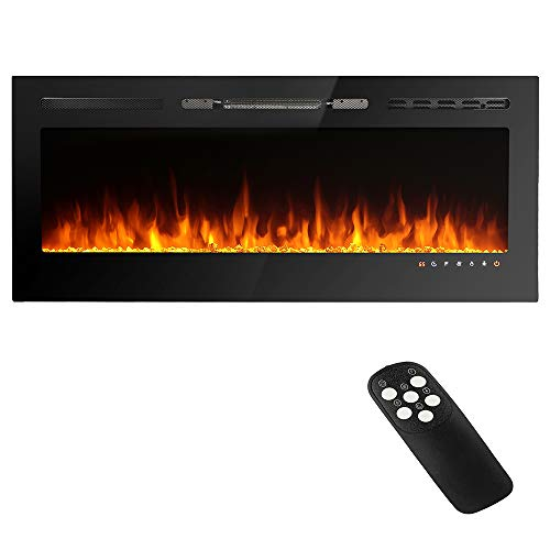 50 inches Recessed and Wall Mounted Electric Fireplace Heater,Remote Control with Timer,Tempered Glass LED Display,9 Adjustable Flame Colors,750/1500W Two-stage Heating Electric Fireplace,Black (50')
