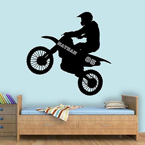 HNXDP Freestyle Motocross Wandaufkleber Vinyl Wohnkultur Motorradfahrer Dirt Bike Moto Fahrrad Wandtattoos Wandbild Benutzerdefinierter Name & Nr. A545 58x57cm