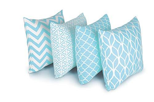 Penguin Home 4er pack koordiniert Dekorative quadratische Kissenbezüge Luxus und stilvolle Taschen für das Wohnzimmer-Sofa, Schlafzimmer mit unsichtbarem Reißverschluss 45 x 45 cm - Blau