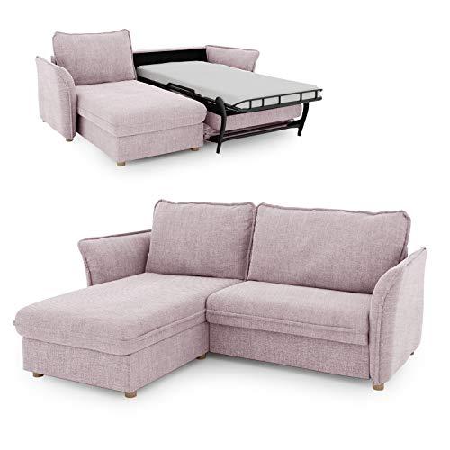 place to be. Schlafsofa 85 cm breit mit Bettkasten 2 Sitzer Sofa mit Schlaffunktion ausklappbar Gästebett mit Recamiere Links rosa P9180 mit Fleckschutz Eiche massiv