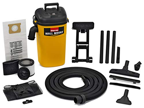Shop-vac 3942300 5 gallon 4. 0 peak hp wall mount wet/dry vacuum yellow/black hands-free vacuum with accessories type aa cartridge filter & type cc foam sleeve & type o filter bag