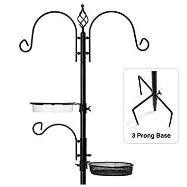 "Rhino Tuff Products Bird Feeder Stand: Deluxe Platform feeding station, with 3 prong base and Water Dish for Birds - Ideal Kit for Bird Watching, Garden, Patio, and Backyard Decor 91"" tall"