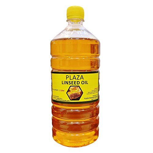 Leinöl rein – 1 Liter Packung von PLAZA (Fledermausöl) für Holzpolitur und Holzstärke, verwendet für Cricket-Schläger, verwendet zum Mischen in Farben für verbesserten Glanz, gutes Massageöl.