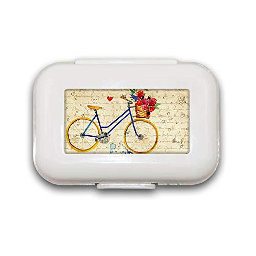 Sunok Retro Bike Pill Box Pill Case Pill Organizer Decoratieve Boxen Pill Box voor Pocket of Purse - 8 Compartiment Pill Box/Pill case