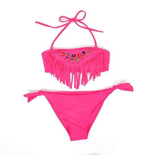 Hougood Mädchen Bademode Badeanzug Neoprenanzug Zweiteilige Anzüge Kinder Stickerei Quaste Bikinis Sets Baby Mädchen Schwimmen Cosutmes Alter 5-14 Jahre