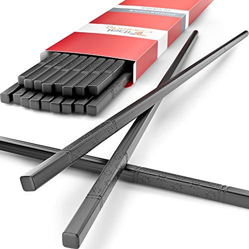 Tribal Cooking - Reusable Chopsticks - Japanese Chopstick Set - Fiberglass, Washable and Dishwasher Safe - Multipack 10 Pack (10 Pack)