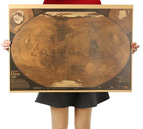 hfwh Muurstickers, Mars Kaart Poster Retro Vintage Woonkamer Decoratie Beeld Grote Grootte Home Art Posters 72.5x48cm