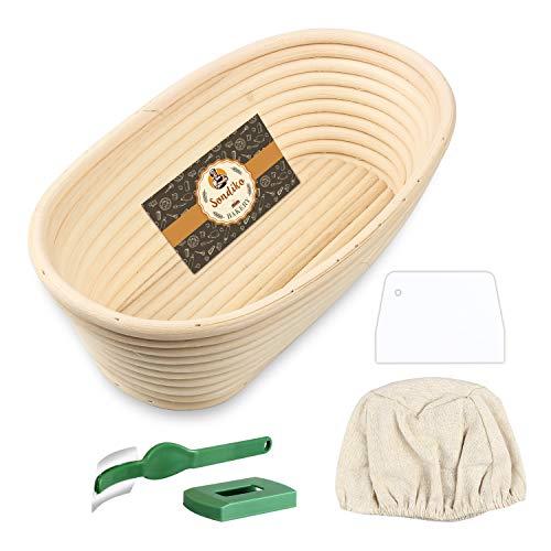 Sondiko Oval Bread Proofing Basket, Handmade Banneton Bread Proofing Basket Brotform with Bread Lame, Dough Scraper, Proofing Cloth Liner for Sourdough Bread, Baking(10 x 6 x 3.5 inches)