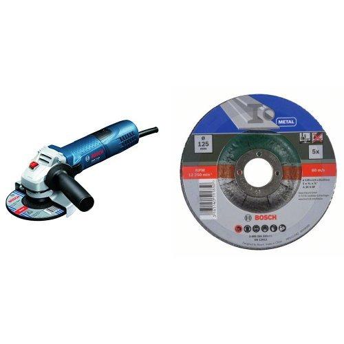 Bosch GWS 7-125 - Amoladora angular (diámetro de 125 mm, 11000 rpm, 720 W, 1,9kg), color azul + 2 609 256 333 - Juego de discos de tronzar de 5 piezas, acodado para metal