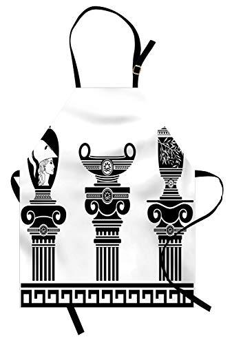 ABAKUHAUS Toga-Party Kochschürze, Hellenische Vasen und ionische Säulen Künstlerisches Design Amphore Antike Kultur, Farbfest Höhenverstellbar Waschbar Klarer Digitaldruck, Weiß und Schwarz