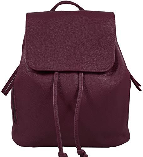 Ital. Echtleder Damen Rucksack Leichter Tagesrucksack Daypack Lederrucksack Damenrucksack versch. Farben erhältlich (Bordeaux)