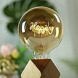 YANUODA Vintage Led Bulb G125 Big Globe 4W Regulable Alfabeto Filamento Colgante Lámpara de mesa Bombilla Bombillas de luz decorativas 220 / 240V E27 (Stand Happy)