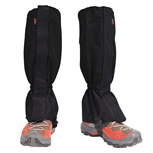 Houdao 1Paar Gamaschen Herren Wasserdicht Gamaschen Outdoor PVC Atmungsaktive Einstellbare Gamaschen Damen Schnee für Wandern, Klettern, Trekking und Jagd(Schwarz)