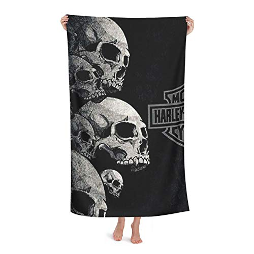 Har-Ley-Davi-Dson Skull Microfibre Beach Towel Extra Large Sand Free Lightweight & Quick Dry Microfibre Towel And Travel Bag
