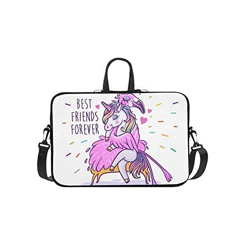 Mens Laptop Messenger Bag Unicorn Flamingo Best Friends Forever Lightweight Waterproof Business Casual Or School Leaper Messenger Bag for Men for Business Travelling