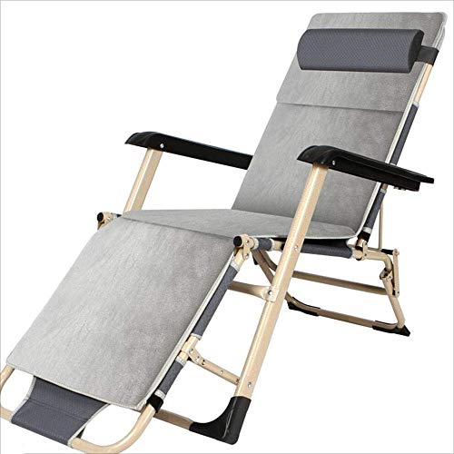 WJJJ Liegestuhl Klappstuhl Tragbarer Aluminium-Multifunktionsklappstuhl Moderner Designer-Freizeitstuhl für den Balkon Garten im Freien Grau