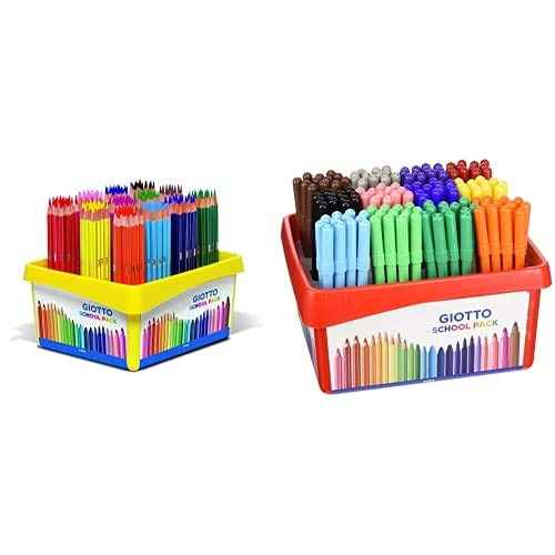 Giotto- Schoolpack 192 Pz Stilnovo-16 X 12, Colori Assortiti, 5234 00 + Turbo Color Schoolpack 144 Pezzi