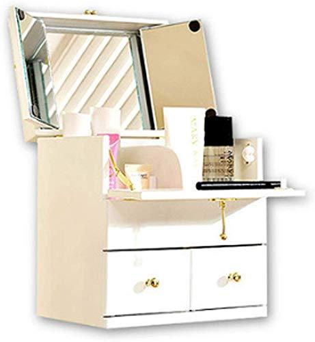 1yess Kosmetischer Fall des Mädchens Lieblingsgeschenk Massivholz Spiegel kosmetischer Aufbewahrungsbehälter aus Holz Großen kosmetischem Fall Desktop-Dressing Box (Farbe: weiß, Größe: 24X18X26CM)