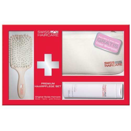 Swiss Haircare Paddle + Color Shampoo + Tasche