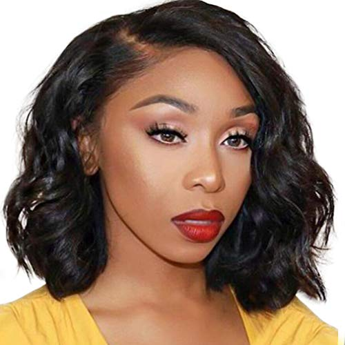 Loose Deep Wave Bob Wig Human Hair Lace Front Pre Plucked Natural Human Hair Wig for Black Women T Part Lace Bob Wig 150% Density 12 Inches Cute Fairy