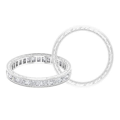 Moissanite Eternity Band, banda de diamante de corte princesa, anillo de eternidad de oro para mujer, 18K Oro blanco, Size:EU 63