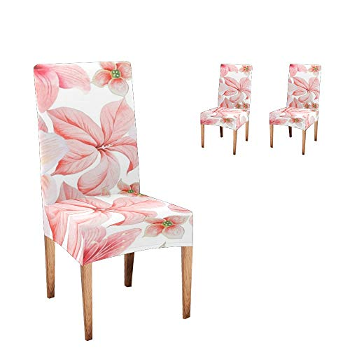 CUXWEOT Chair Covers for Dining Room Flowers Lily Hibiscus Watercolor Seat Covers Slipcovers for Party Decor (Set of 2)