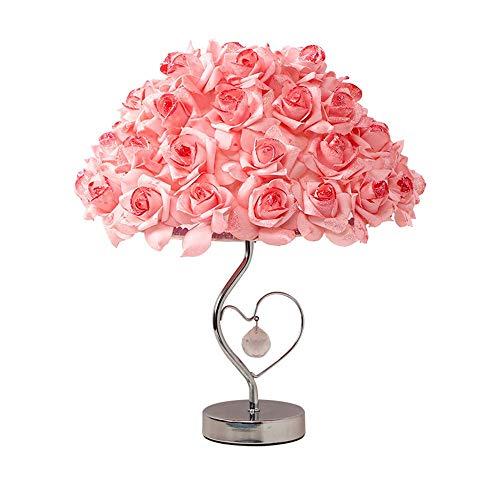 YSYDE Crystal Romantic Rose Flower Shade mit modernen Lampensockel für Wohnzimmer Bedside Decor, Beleuchtung Metal Base Bedside Leselampe Schreibtischlampen