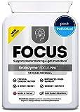 Brainzyme Focus Pro - Stimulant Naturel (Dopamine) : Cerveau et Métabolisme Optimisé - Concentration + Productivité. Ginkgo, Guarana, L-Théanine, L-Tyrosine, Vitamine, Nootropique (1 paquet).