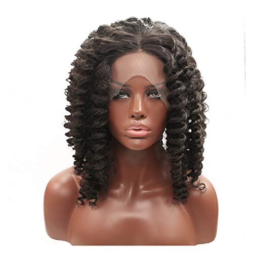 Front Lace Wig, Bob Shoulder Length Wavy Synthetic Wig, Wigs for Black Women Lace Front (Color : A1+a3)