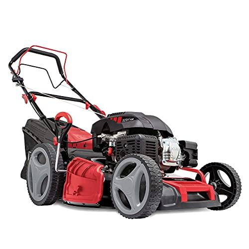 scheppach Benzin Rasenmäher MS225-53 - 7PS | 53 cm Schnittbreite | Radantrieb | 7-fache Schnitthöhenverstellung | 65 Liter Fangkorb | Reinigungsfunktion (Inkl. Motoröl)