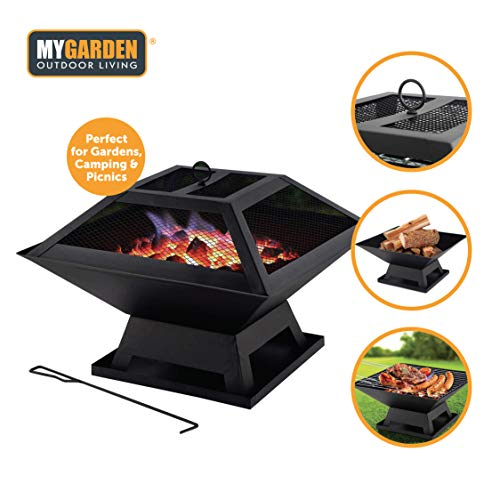 Toledo 2 in 1 Portable Fire Pit with BBQ Barbecue Grill Garden Camping Beach