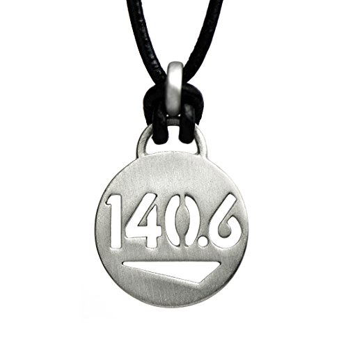 ATHLETE INSPIRED, Inc. 140.6 - Iron Triathlon Black Leather Necklace (18 Inches)