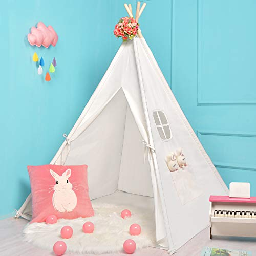 Sumerice Teepee Tent for Kids Toy with Carry Case, 100% Natural Cotton Canvas Children Playhouse,...