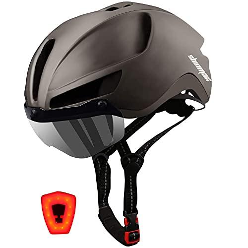 Shinmax Fahrradhelm,mit Abnehmbarem Magnetischem Visier,MTB Fahrradhelm for Herren and Damen,Reflektierende Sicherheitsseilschnalle Wiederaufladbar Sicherheit LED-Rücklicht Radhelm Rennradhelm