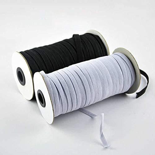 NIERBO Elastisches Band 5mm Breit 90Meter Lang Weiß Gummiband Nähen Hochwertige Gummikordel Kochfest Elastik für DIY Nähen und Handwerk