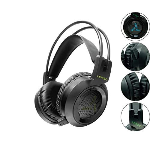 Lemec. Gaming Prime. Auriculares para Juego con Aislante de Ruido. Cascos Headset con Doble Conector USB y Jack 3,5mm. Micrófono Corto. Luces Led. Color Negro.