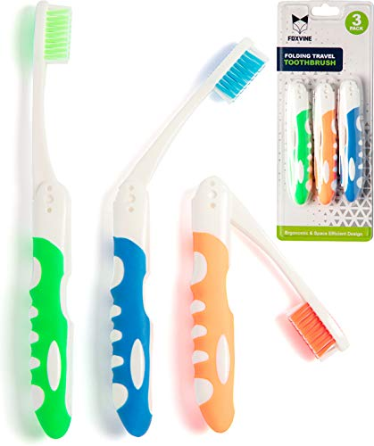 Folding Travel Toothbrush 3 Pack | Portable amp Compact Size with Antibacterial Bristles | Perfect for Camping Hiking Adults Kids amp More