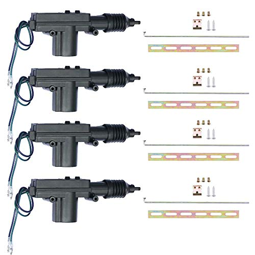 ESUPPORT Black Car Plastic Universal Heavy Duty Power Door Lock Actuator 2 Wire 12V Pack of 4