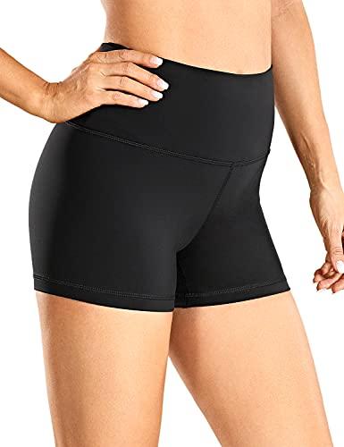 CRZ YOGA Mujer Pantalones Cortos Motociclista Pantalones Cortos de Entrenamiento Atléticos Yoga Mallas para Correr - 7 cm Negro 42