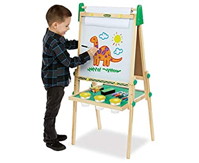 Crayola Kids Wooden Easel, Dry Erase Board & Chalkboard, Gift for Kids, Ages 4, 5, 6, 7