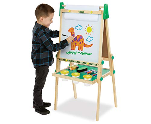 Crayola Kids Wooden Easel, Dry Erase Board & Chalkboard, Gift for Kids, Age 4, 5, 6, 7