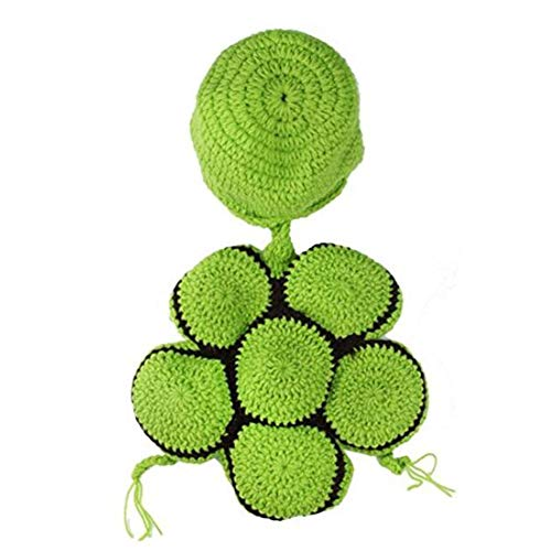 mxdmai Baby Schildkröte Kostüm Hut Baumwolle gestrickte Foto Requisiten, grün