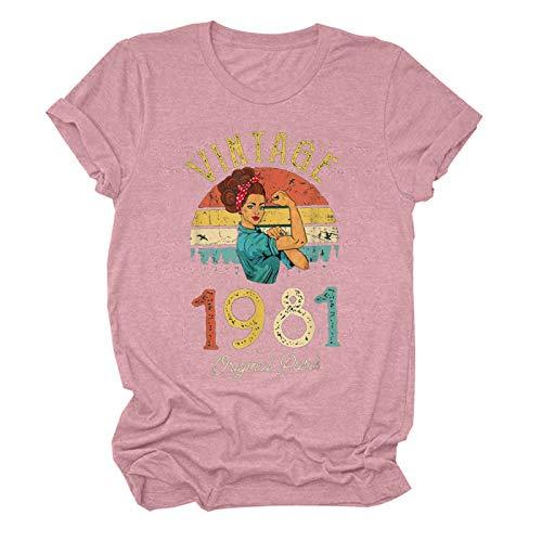 Camiseta de manga corta para mujer, para cumpleaños, verano, diseño divertido para regalar a las mujeres, elegante blusa, manga corta, cuello redondo, básica, túnica, 1981, Rosa C, XL