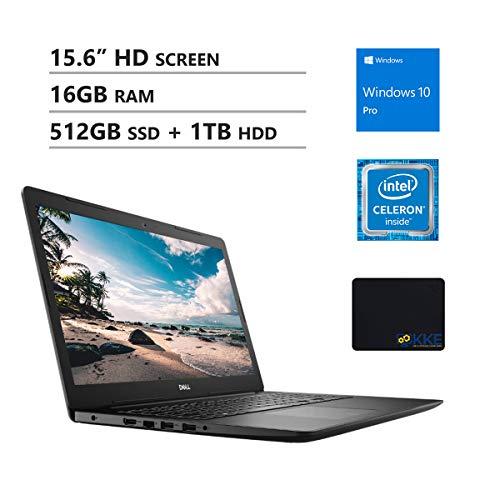 """Dell Inspiron 15.6"""" HD Business Laptop, Intel 4205U, 16GB RAM, 512GB PCIe SSD + 1TB HDD, DVD Drive, Wireless AC, Bluetooth, KKE Mousepad, Win10 Pro, Black"""