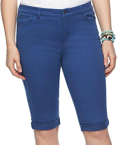 Chaps Plus Size Womens Modern Fit Bermuda Shorts (24W, Blue Ridge)