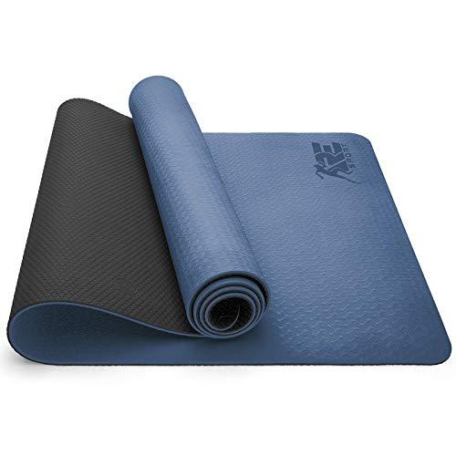 RE:SPORT Esterilla de Yoga, Pilates Antideslizante | Colchoneta de Gimnasia | Alfombrilla de Fitness y Deporte con Correa | 183 x 61 cm x 0,6 cm