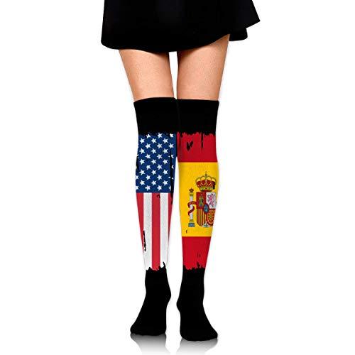 Nice-Guy Drapeau de l'Espagne américaine Bottes pour femmes sur les cuissardes